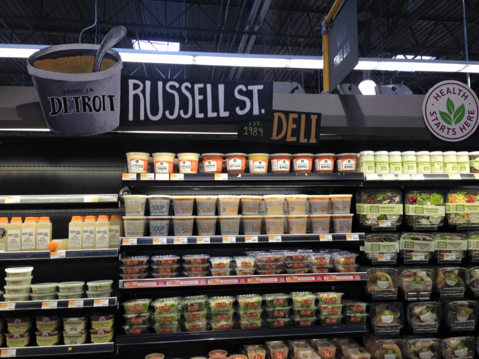 Russell Street Deli soups on display at Whole Foods in Detroit.
