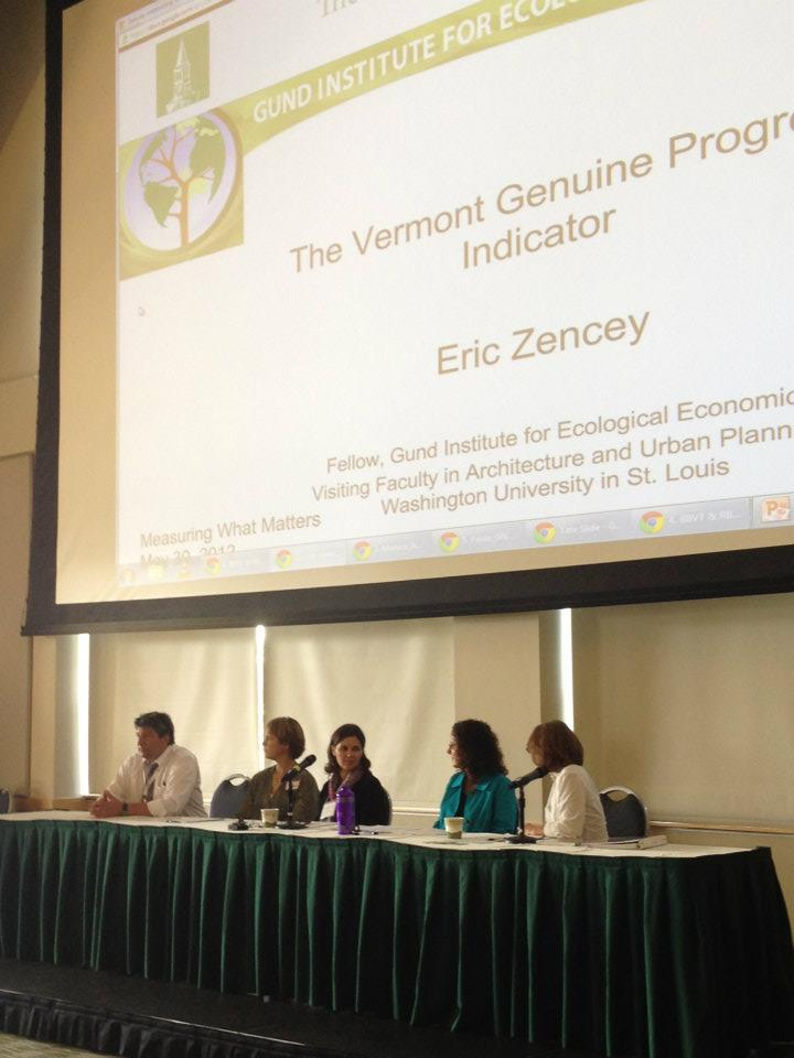 Eric on a panel at the Measuring What Matters Conference at UVM.   Source: Gund Institute Facebook Page