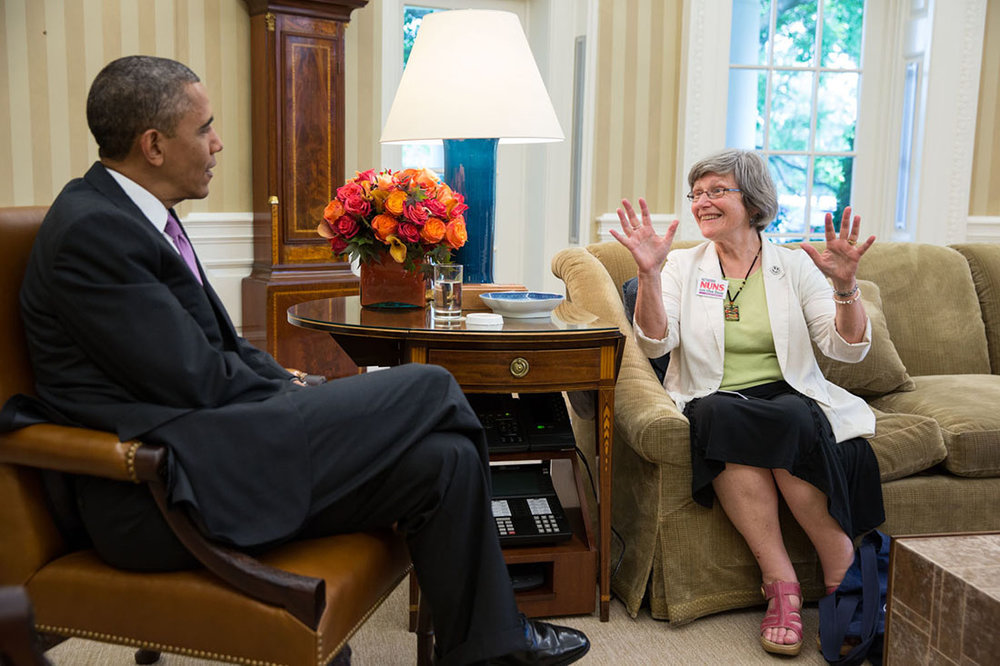 President Obama with Sister Simone Campbell in the Oval Office