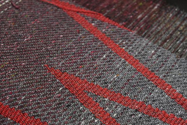 Finishing off this scarf warp. Not much to go now....maybe enough cloth for a snood, if not a cushion or two. The red is also naturally dyed wool :) #weaving #textiles #handmade #handwoven #craft #crafted #culture #artisan #handcrafted #wool #merino #naturaldyes #colour #pattern #sustainable #designer #slowtextiles #slowfashion #woven