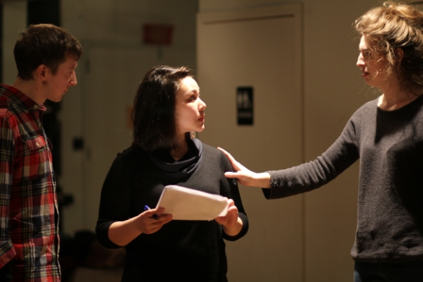 In rehearsals for Ducdame Ensemble's first collaboration with the International Shakespeare Center,  Dames of Thrones . Photo Credit: Samantha Blinn.