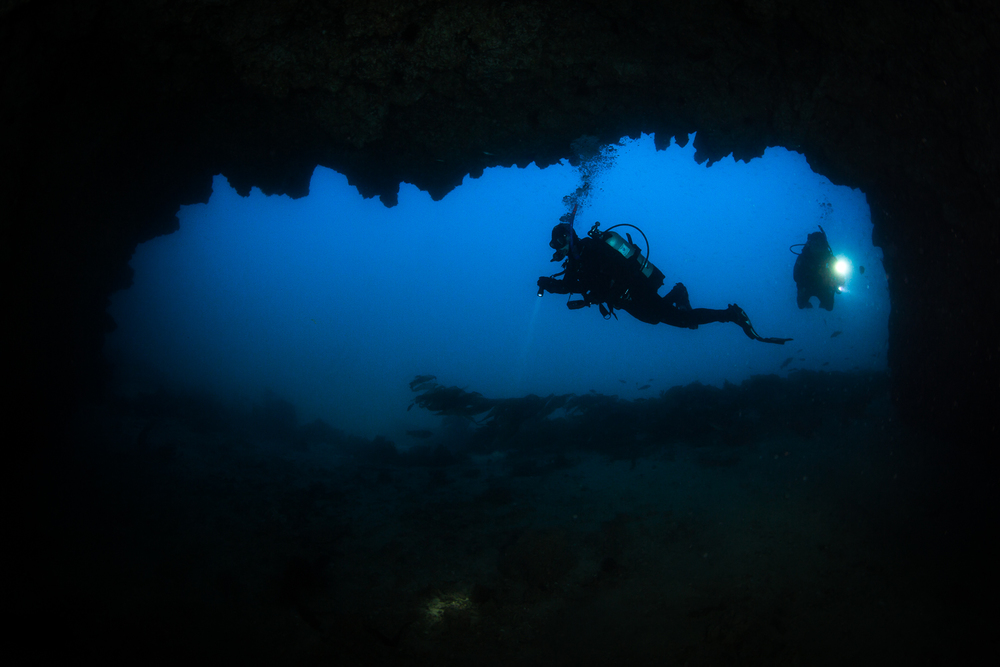 Divers at Blue Cavern, Santa Catalina Island, CA