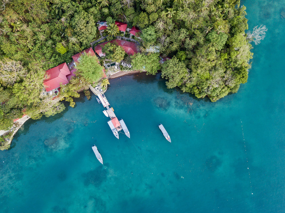 The resort: NAD Lembeh as seen from the birds-eye of the drone