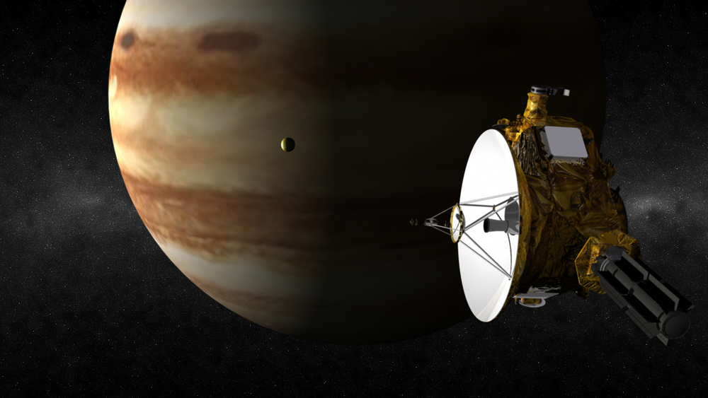 An artist's illustration of the New Horizons spacecraft's flyby of Jupiter in 2007. In this artist's rendering, New Horizons soars past Jupiter as the volcanic moon Io passes between the spacecraft and planet. Credit: Johns Hopkins University Applied Physics Laboratory/Southwest Research Institute (JHUAPL/SwRI)