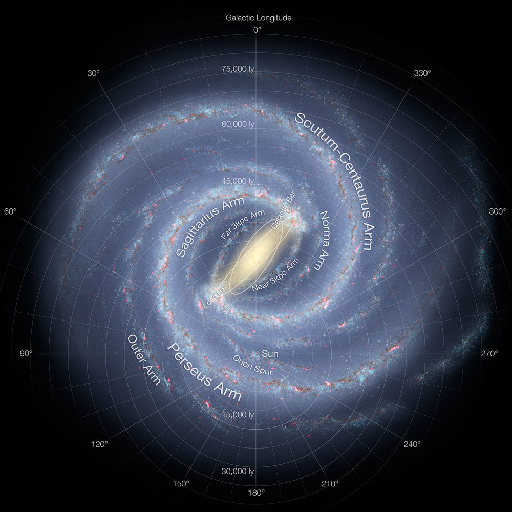 This detailed annotated artist's impression shows the structure of the Milky Way, including the location of the spiral arms and other components such as the bulge. This version of the image has been updated to include the most recent mapping of the shape of the central bulge deduced from survey data from ESO's VISTA telescope at the Paranal Observatory. Image credit: NASA/JPL-Caltech/ESO/R. Hurt