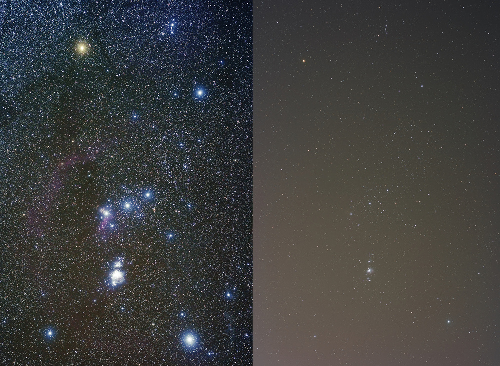 The constellation Orion, imaged at left from dark skies, and at right from Orem, UT. Orem, UT is hardly a large city. This is intended to highlight the fact that light pollution is a problem everywhere, not just in cities with tens of millions of inhabitants. Image credit: Flickr user jpstanley, CC BY 2.0.