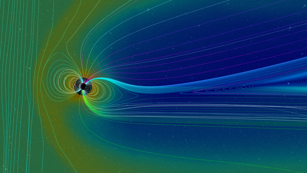 A profile view of the magnetic field and density data. Image Credit: NASA's Scientific Visualization Studio, the Space Weather Research Center (SWRC), the Community-Coordinated Modeling Center (CCMC) and the Space Weather Modeling Framework (SWMF).