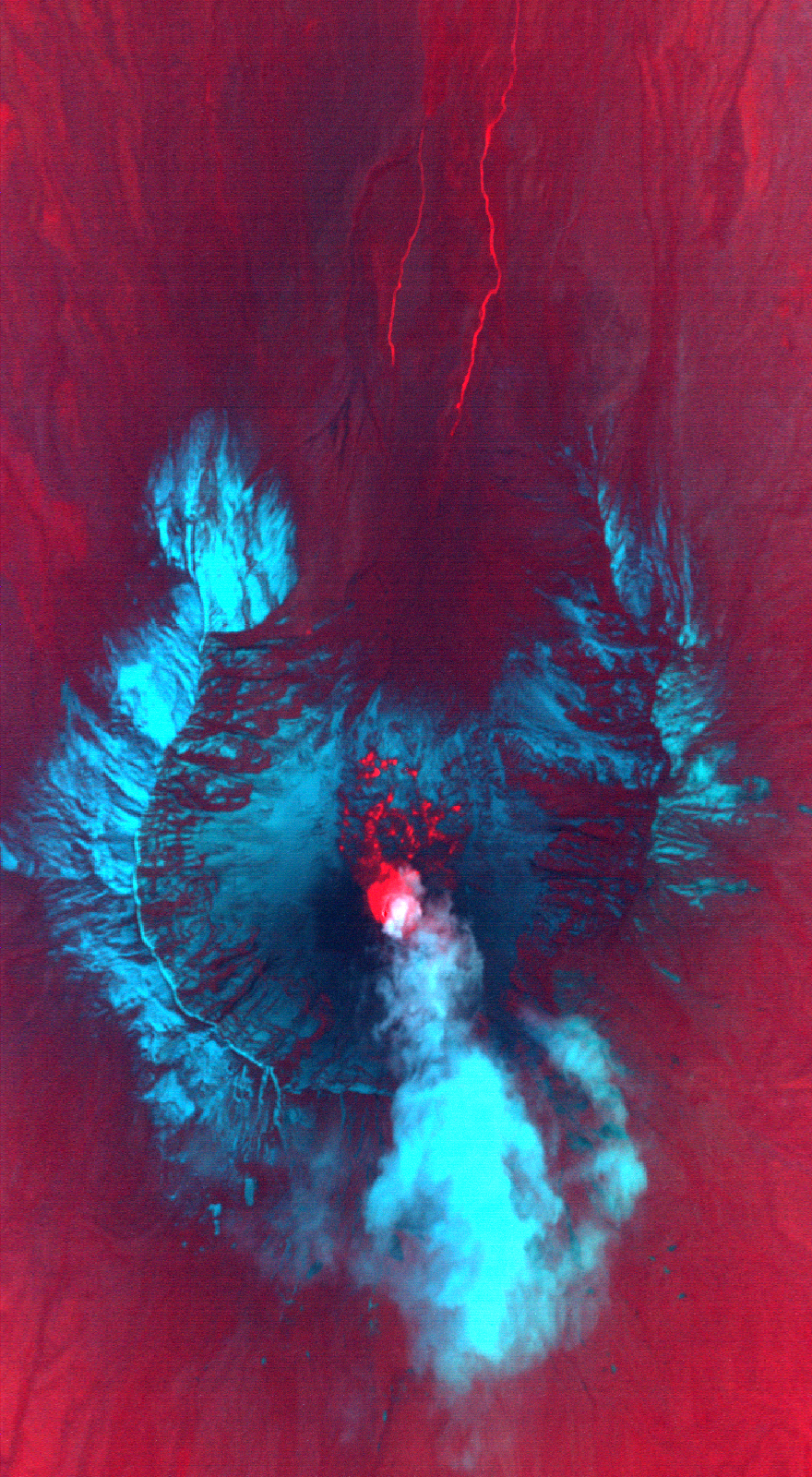 Hot lava had broken through the surface of the growing lava dome on Mount St. Helens when the MASTER sensor took this image in the early morning hours of October 13, 2004. An image composed of thermal infrared and visible light wavelengths reveals more details around the mountain. The volcanic plume is bright cyan, the cool crater is purple, and snow is light blue. To the north of the volcano, two bright red lines extend from south to north. These are warm-water streams, possibly heated by the active volcano. Image credit: Jeffrey Myers, NASA Ames Research Center
