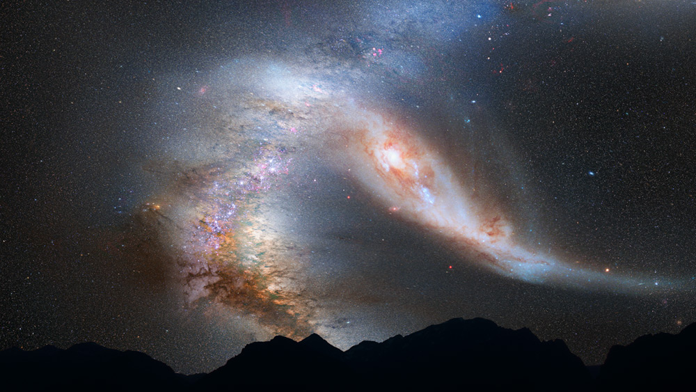 This is one of series of photo illustrations showing the predicted merger between our Milky Way galaxy and the neighboring Andromeda galaxy, as it will unfold over the next several billion years. The sequence is inspired by dynamical computer modeling of the inevitable future collision between the two galaxies. After its first close pass, Andromeda is tidally stretched out. The Milky Way, too, becomes warped. Science Illustration Credit: NASA, ESA, Z. Levay and R. van der Marel (STScI), T. Hallas, and A. Mellinger
