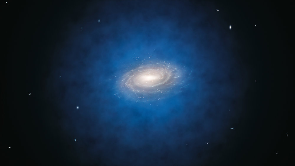 This artist's impression shows the Milky Way galaxy. The blue halo of material surrounding the galaxy indicates the expected distribution of the mysterious dark matter, which was first introduced by astronomers to explain the rotation properties of the galaxy and is now also an essential ingredient in current theories of the formation and evolution of galaxies. New measurements show that the amount of dark matter in a large region around the Sun is far smaller than predicted and have indicated that there is no significant dark matter at all in our neighbourhood. Image credit: ESO/L. Calçada