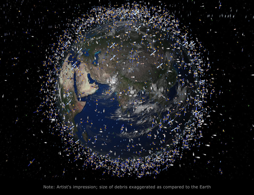 70% of all catalogued objects are in low-Earth orbit (LEO), which extends to 2000 km above the Earth's surface. To observe the Earth, spacecraft must orbit at such a low altitude. The spatial density of objects increases at high latitudes. Note: The debris field shown in the image is an artist's impression based on actual data. However, the debris objects are shown at an exaggerated size to make them visible at the scale shown. Image credit: ESA