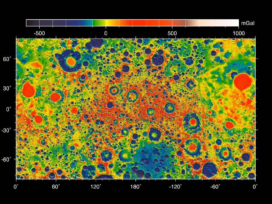 This map shows the gravity field of the moon as measured by NASA's GRAIL mission. The viewing perspective, known as a Mercator projection, shows the far side of the moon in the center and the nearside (as viewed from Earth) at either side. Units are milliGalileos where 1 Galileo is 1 centimeter per second squared. Reds correspond to mass excesses which create areas of higher local gravity, and blues correspond to mass deficits which create areas of lower local gravity. Image credit: NASA/JPL-Caltech/GSFC/MIT