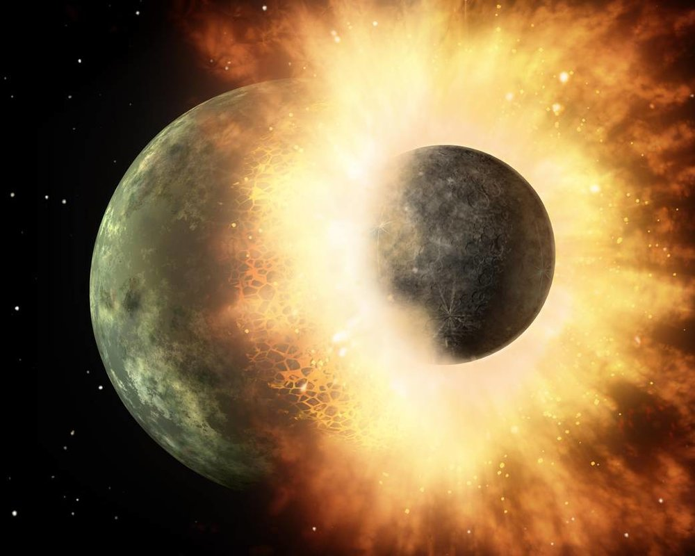 This artist's concept shows a celestial body about the size of our moon slamming at great speed into a body the size of Mercury. NASA's Spitzer Space Telescope found evidence that a high-speed collision of this sort occurred a few thousand years ago around a young star, called HD 172555, still in the early stages of planet formation. The star is about 100 light-years from Earth. Image Credit: NASA/JPL-Caltech