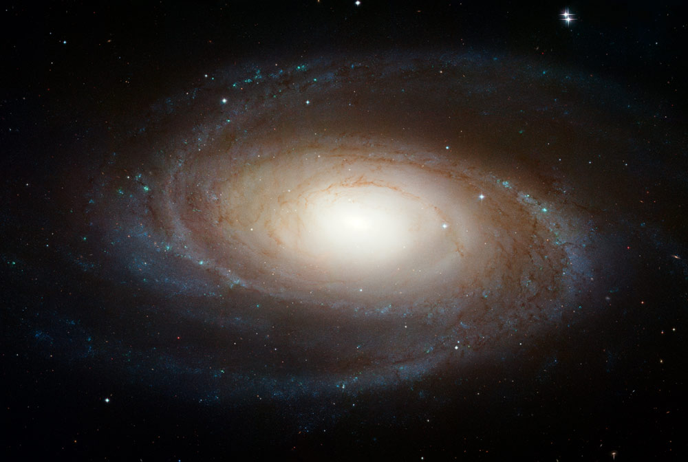 M81 is one of the brightest galaxies that can be seen from the Earth. It is high in the northern sky in the circumpolar constellation Ursa Major, the Great Bear. At an apparent magnitude of 6.8 it is just at the limit of naked-eye visibility. The galaxy's angular size is about the same as that of the Full Moon.   The Hubble data was taken with the Advanced Camera for Surveys in 2004 through 2006. This color composite was assembled from images taken in blue, visible, and infrared light. Image Credit: NASA, ESA, and The Hubble Heritage Team (STScI/AURA)