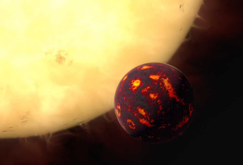 This artist's impression shows the super-Earth 55 Cancri e in front of its parent star. Using observations made with the NASA/ESA Hubble Space Telescope and new analytic software scientists were able to analyse the composition of its atmosphere. It was the first time this was possible for a super-Earth. 55 Cancri e is about 40 light-years away and orbits a star slightly smaller, cooler and less bright than our Sun. As the planet is so close to its parent star, one year lasts only 18 hours and temperatures on the surface are thought to reach around 2000 degrees Celsius. Image credit: ESA/Hubble, M. Kornmesser