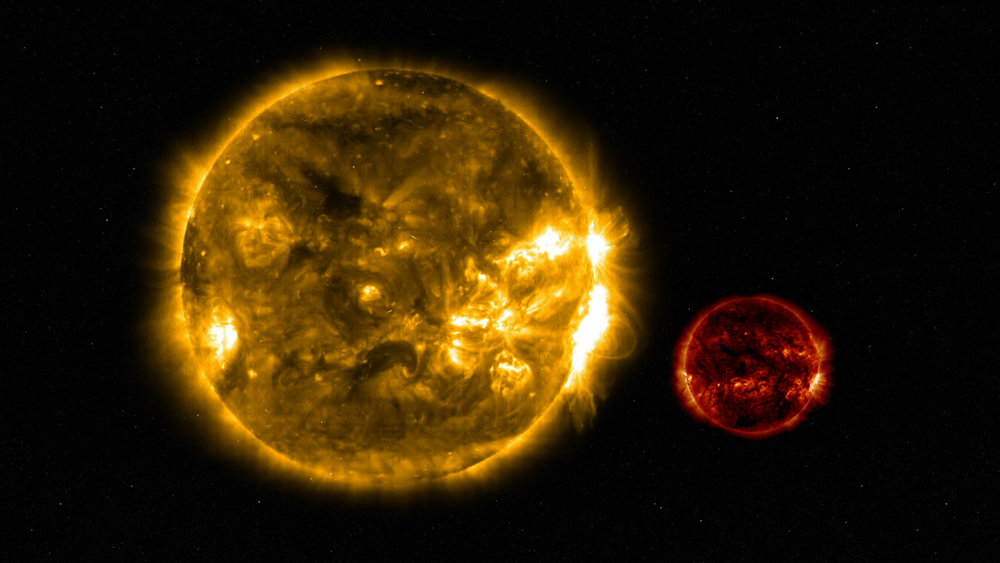 DG CVn (right) is about one-third the size of our sun (left).  Image credit NASA
