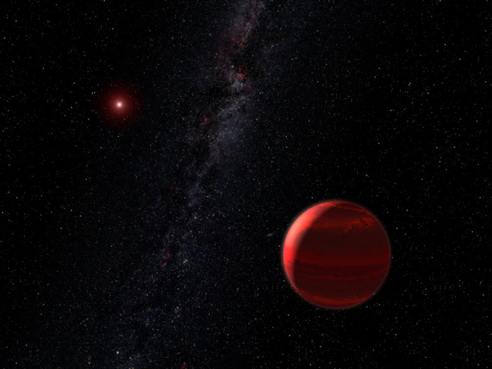 This is an artist's concept of the red dwarf star CHRX 73 (upper left) and its companion CHRX 73 B in the foreground (lower right) weighing in at 12 Jupiter masses. CHRX 73 B is one of the smallest companion objects ever seen around a normal star beyond our Sun. Credit: NASA, ESA and G. Bacon (STScI)