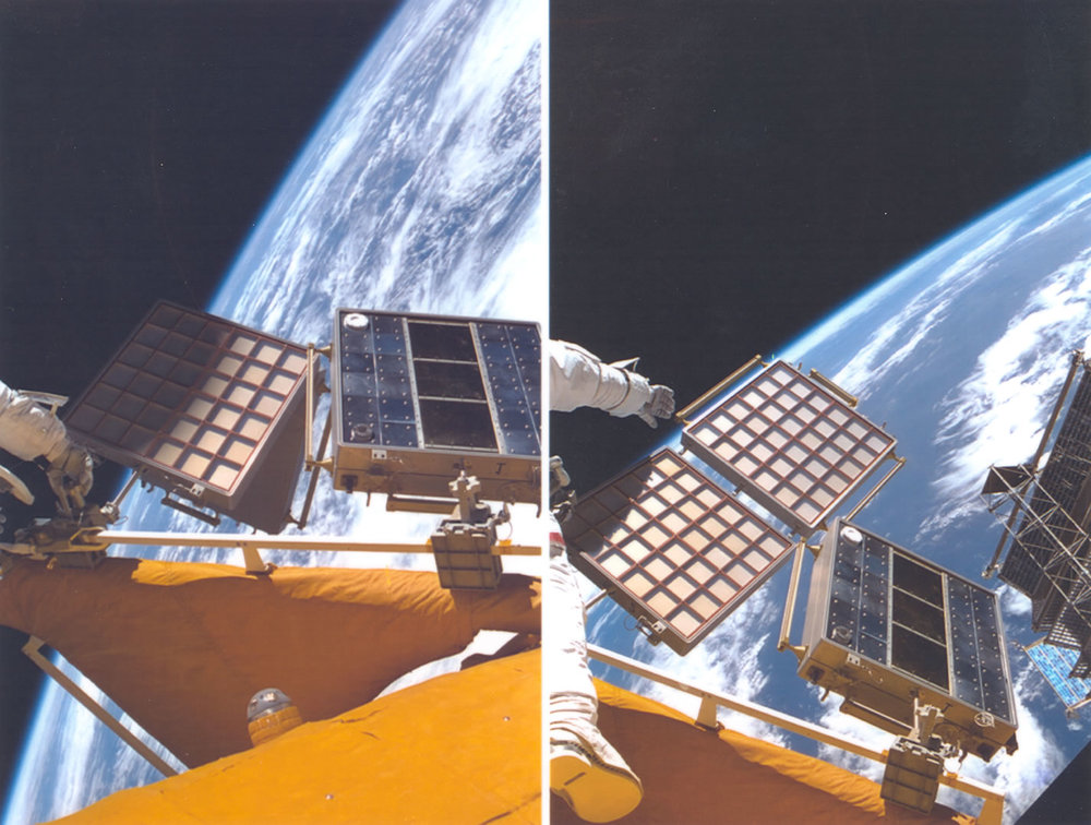 Mir Environmental Effects Payload (MEEP) Orbital Debris Collector (ODC) was exposed to the space environment for 18 months. The ODC utilized an aerogel capture medium. Aerogel is a very low density material that can slow small particles down from orbital velocities and capture them without destroying them. Image credit: NASA