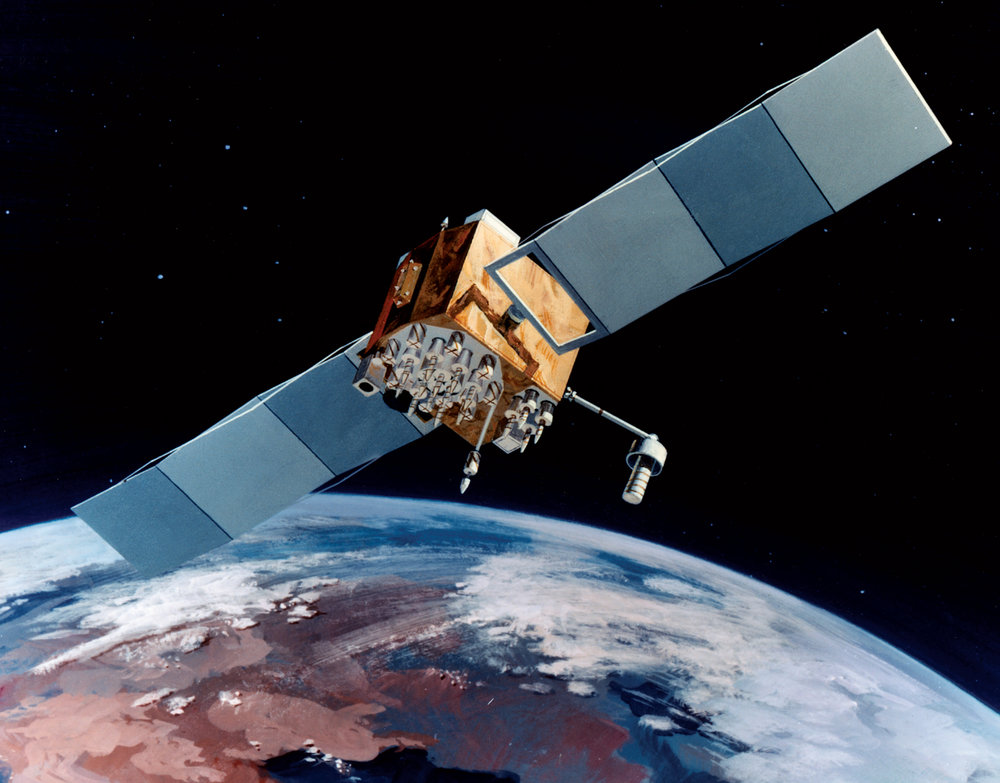 Navstar-2F satellite of the Global Positioning System (GPS). Image credit: USAF.