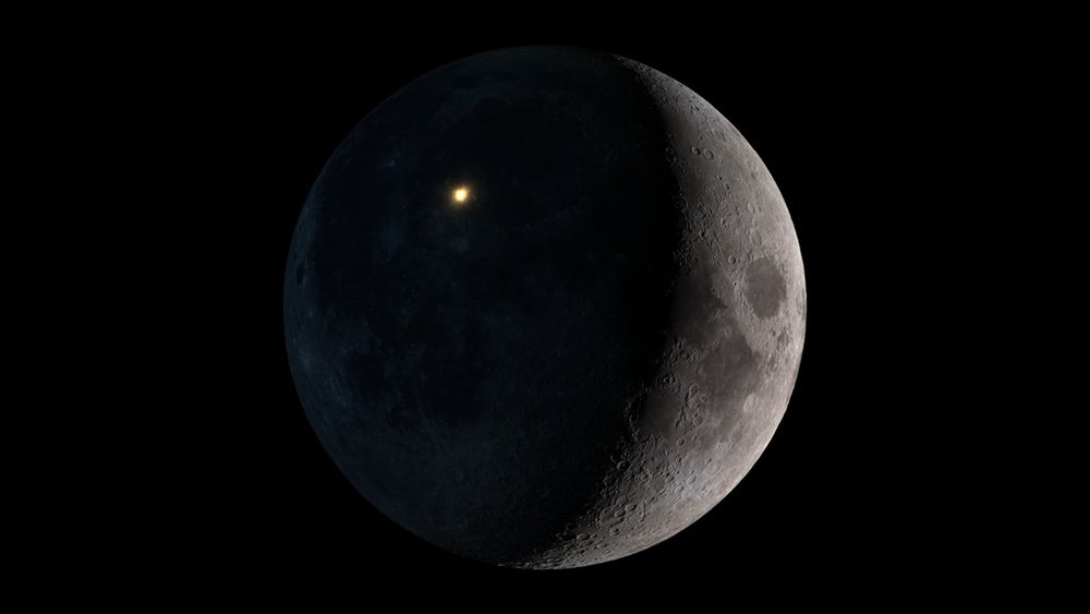 Artist's conception of the March 17, 2013 lunar impact as seen from Earth. Image credit: NASA's Scientific Visualization Studio