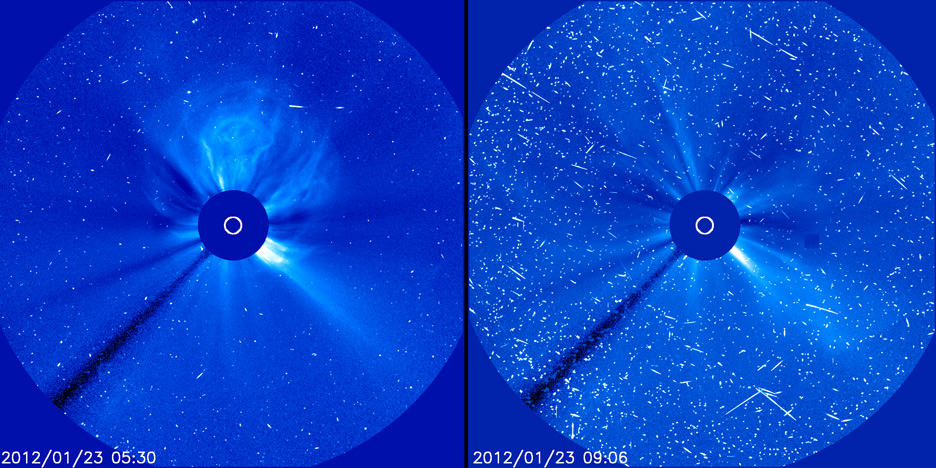 Fast-moving protons from a solar energetic particle (SEP) event cause interference that looks like snow in these images from the Solar Heliospheric Observatory taken on January 23, 2012. Image Credit: ESA&NASA/SOHO