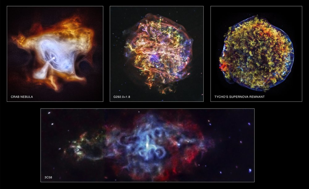 In commemoration of the 15th anniversary of NASA's Chandra X-ray Observatory, four newly processed images of supernova remnants dramatically illustrate Chandra's unique ability to explore high-energy processes in the cosmos (see the accompanying press release). The images of the Tycho and G292.0+1.8 supernova remnants show how Chandra can trace the expanding debris of an exploded star and the associated shock waves that rumble through interstellar space at speeds of millions of miles per hour. The images of the Crab Nebula and 3C58 show how extremely dense, rapidly rotating neutron stars produced when a massive star explodes can create clouds of high-energy particles light years across that glow brightly in X-rays. Image credit: NASA/CXC/SAO