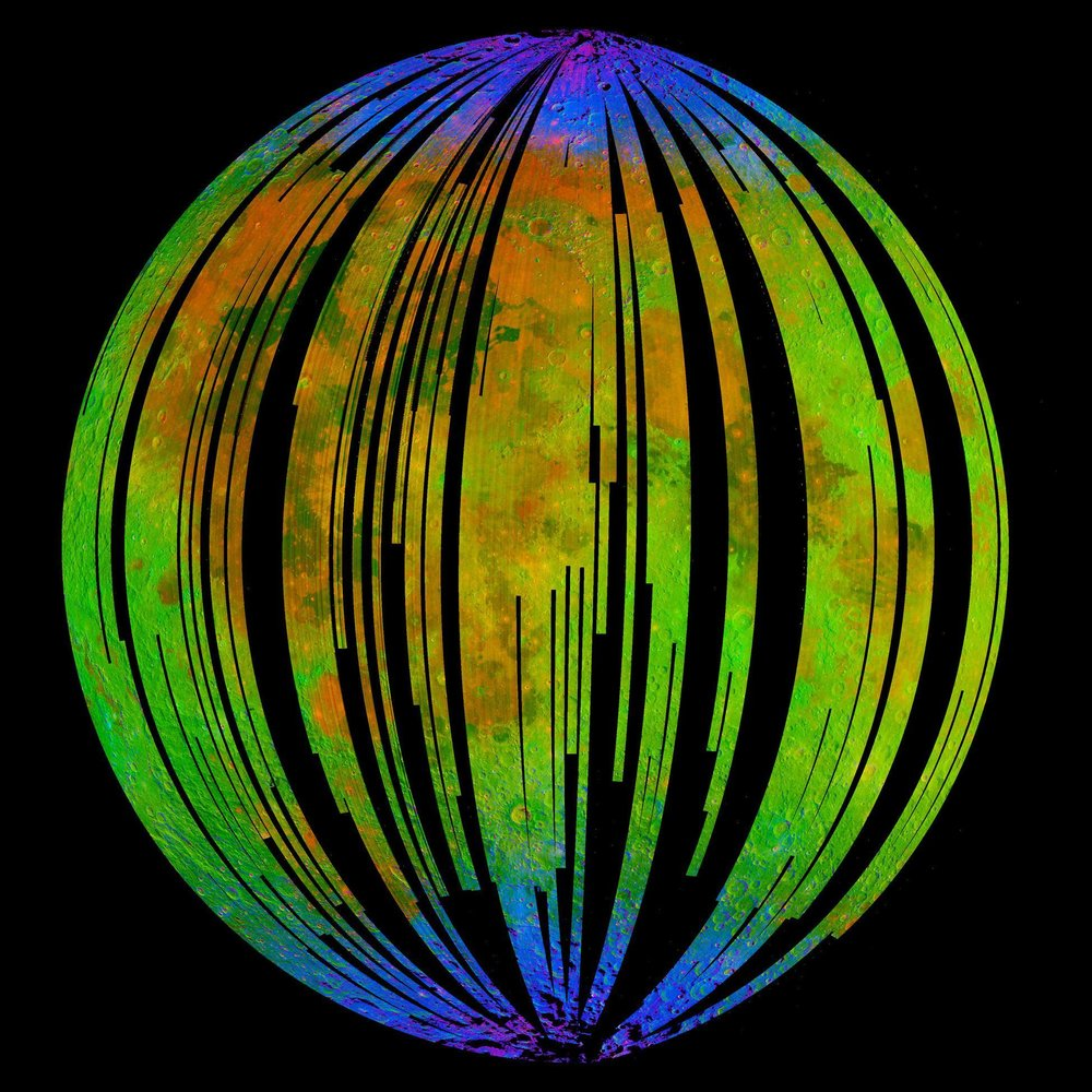 NASA's Moon Mineralogy Mapper, an instrument on the Indian Space Research Organization's Chandrayaan-1 mission, took this image of Earth's moon. Blue shows the signature of water, green shows the brightness of the surface as measured by reflected infrared radiation from the sun and red shows an iron-bearing mineral called pyroxene. Image credit: ISRO/NASA/JPL-Caltech/Brown Univ./USGS