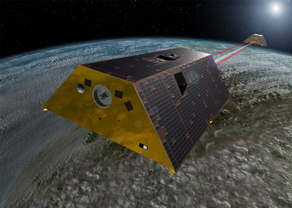 Artist's rendering of the twin satellites that will compose NASA's Gravity Recovery and Climate Experiment Follow-On (GRACE-FO) mission. Image credit: NASA/JPL-Caltech