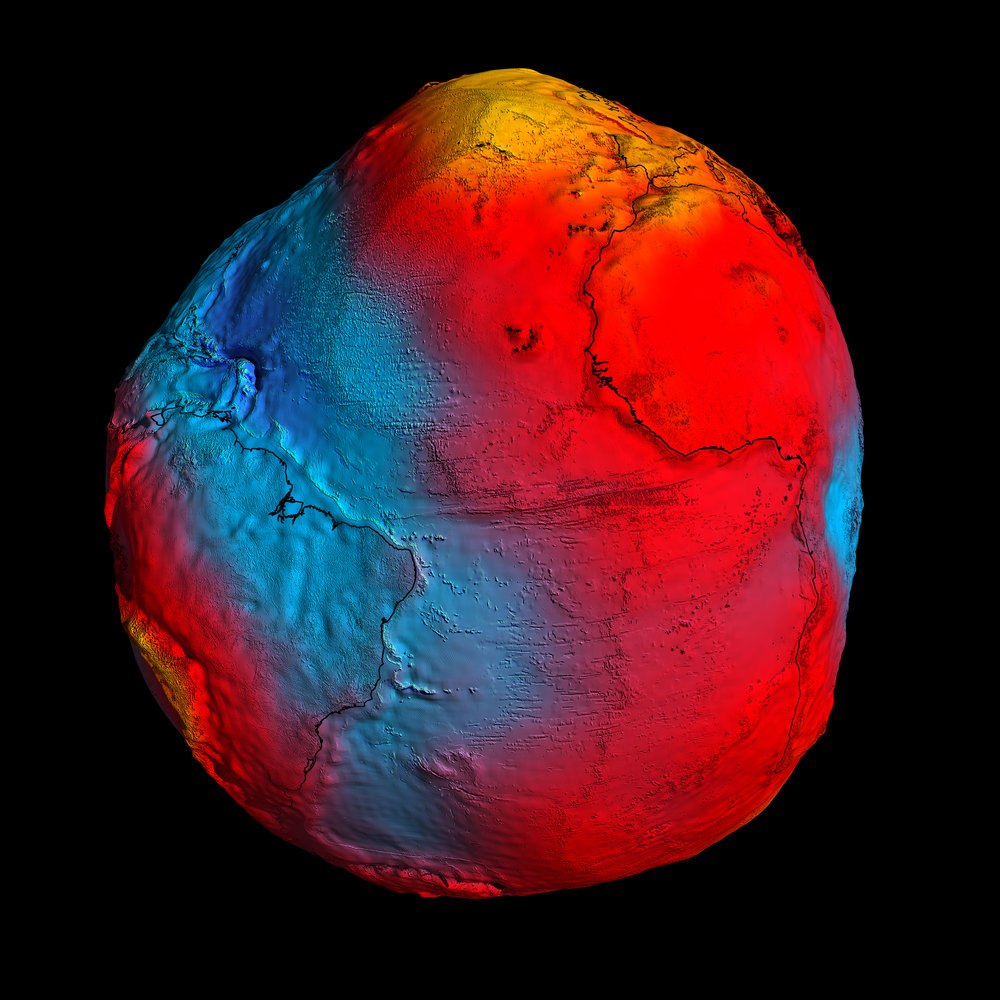 ESA's GOCE mission has delivered the most accurate model of the 'geoid' ever produced, which will be used to further our understanding of how Earth works. The colours in the image represent deviations in height (–100 m to +100 m) from an ideal geoid. The blue shades represent low values and the reds/yellows represent high values. Image credit: ESA/HPF/DLR