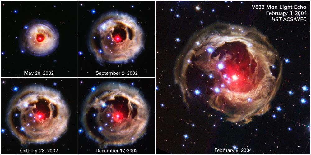 Images showing the expansion of the light echo of V838 Monocerotis. Image credit: NASA, ESA, H.E. Bond (STScI) and The Hubble Heritage Team (STScI/AURA)