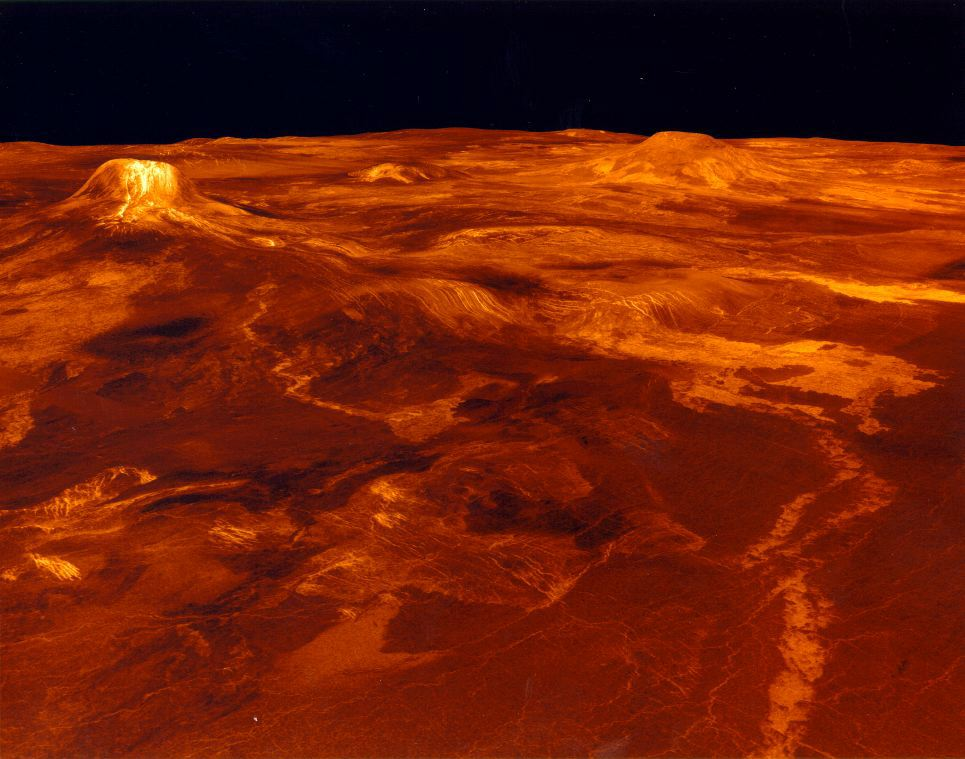 Computer generated surface view of Eistla Regio (from the northeast). Vertical scale has been exaggerated by a factor of 22.5. Image credit: NASA