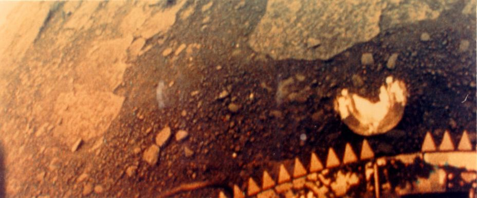 Color version of the left half of a Venera 13 image of the surface of Venus. Image credit: NASA