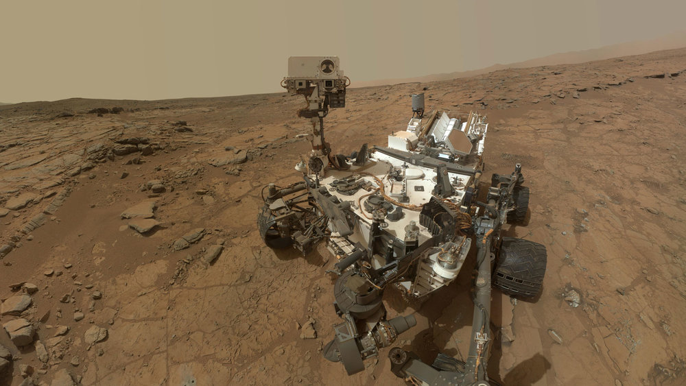 This self-portrait of NASA's Mars rover Curiosity combines dozens of exposures taken by the rover's Mars Hand Lens Imager (MAHLI) during the 177th Martian day, or sol, of Curiosity's work on Mars (Feb. 3, 2013), plus three exposures taken during Sol 270 (May 10, 2013) to update the appearance of part of the ground beside the rover. Image credit: NASA/JPL-Caltech/MSSS
