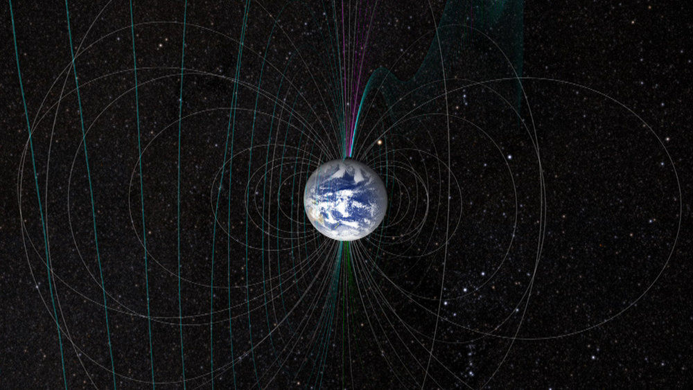 Our planet's magnetic field changes shape constantly due to strong winds from the sun. Image credit:  NASA's Scientific Visualization Studio