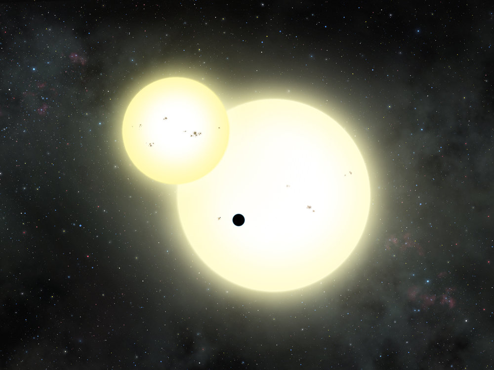 Artist's impression of the simultaneous stellar eclipse and planetary transit events on Kepler-1647.  Credits: Lynette Cook