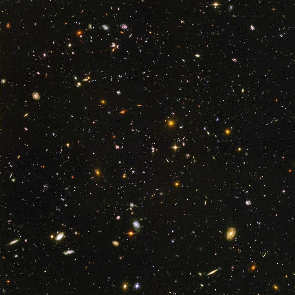 This is the deepest image of the universe ever made at optical and near-infrared wavelengths. Image credit:  NASA  ,   ESA  , S. Beckwith and the HUDF Team (  STScI  ), and B. Mobasher (  STScI  )