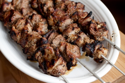 Shashlik Charcoal grilled marinated skewered pork, Russian style. Platter $15, a la carte $10