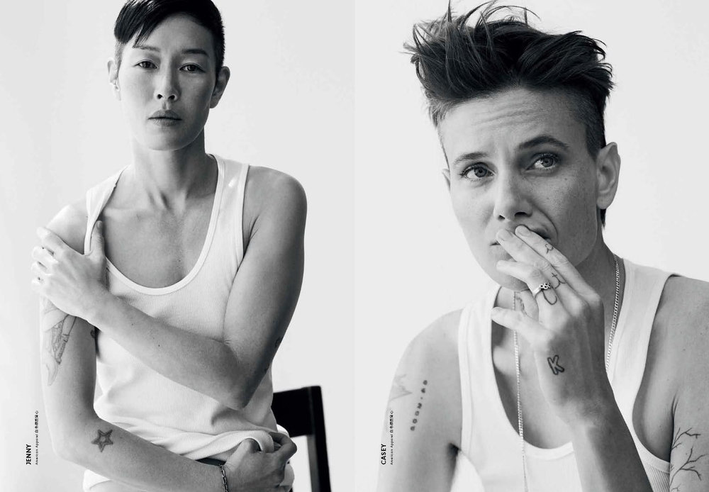 Jenny Shimizu and Casey Legler (the first female to sign as an exclusively male model)