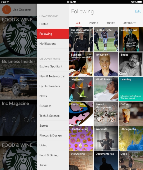 Flipboard's strong image forward interface is perfect for anyone who thinks visually.