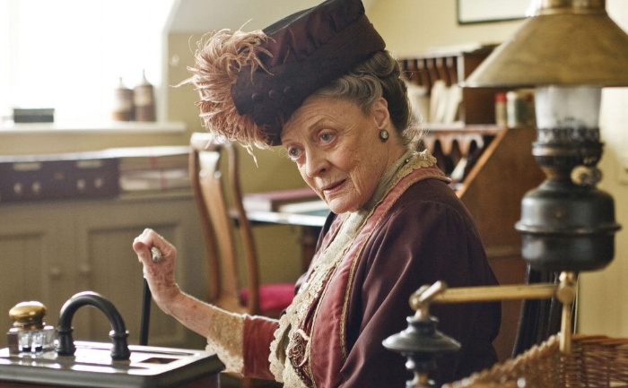 Maggie Smith as Dowager Countess of Downton Abbey serves up wit and judgment with every tea sandwich.