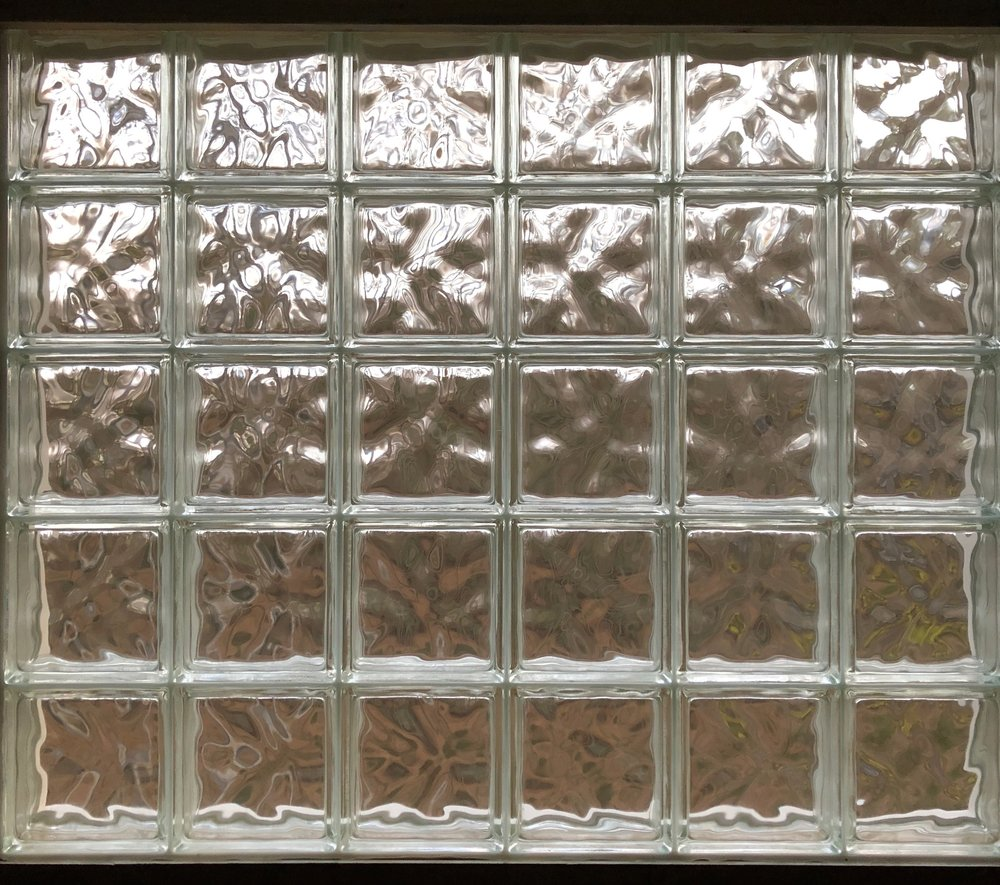 Glass block window, our bathroom at home.
