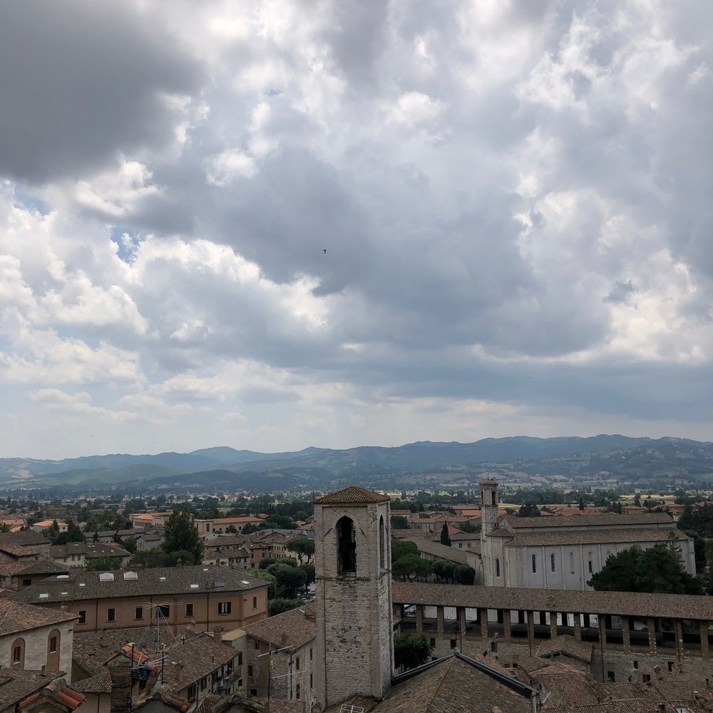 The view of Gubbio from the grande piazza