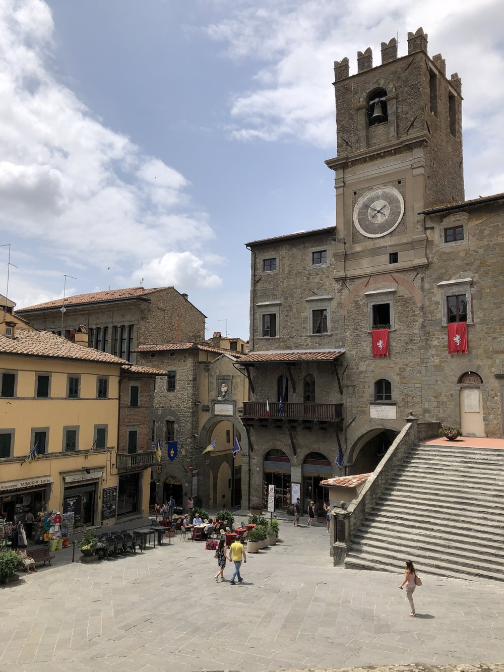 Our view at lunch: Republic Square with the 13th-century Cortona town hall