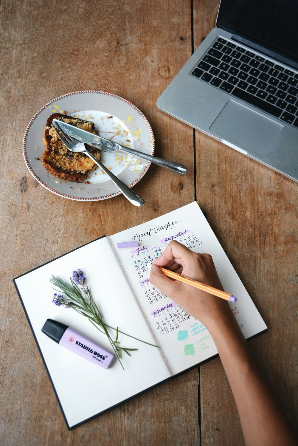This is a stock photo, and I chose it because it's filled with some of my favorite things: purple and green, flowers, a piece of yummy bread or cake, a rough-hewn table, a pen and marker, and a laptop. I don't use a Mood Tracker, but if I did, I would get this one because I love how it looks. Photo credit:  Estée Janssens  on  Unsplash .