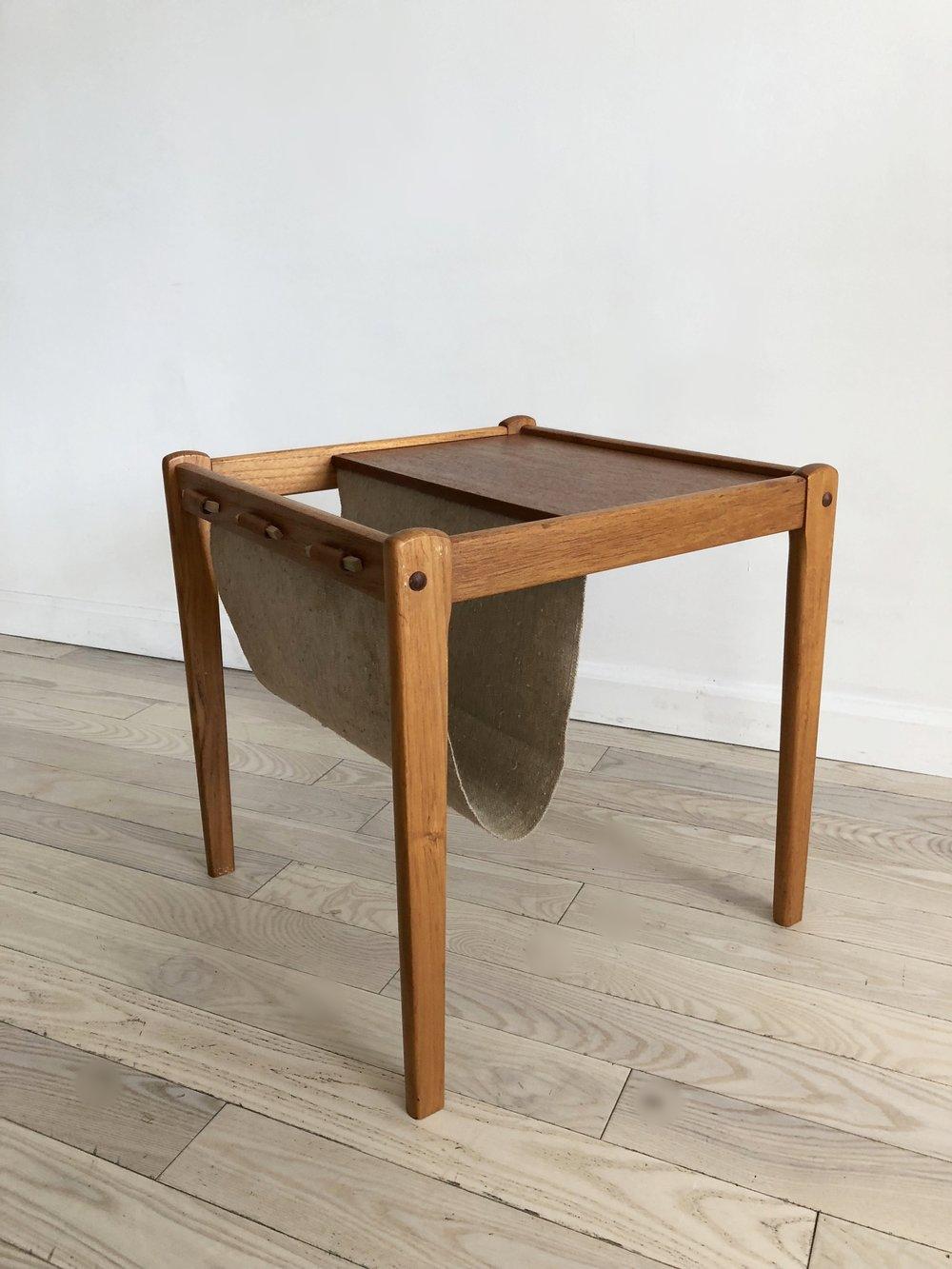 Mid Century Teak Danish Side Table With Magazine Sling