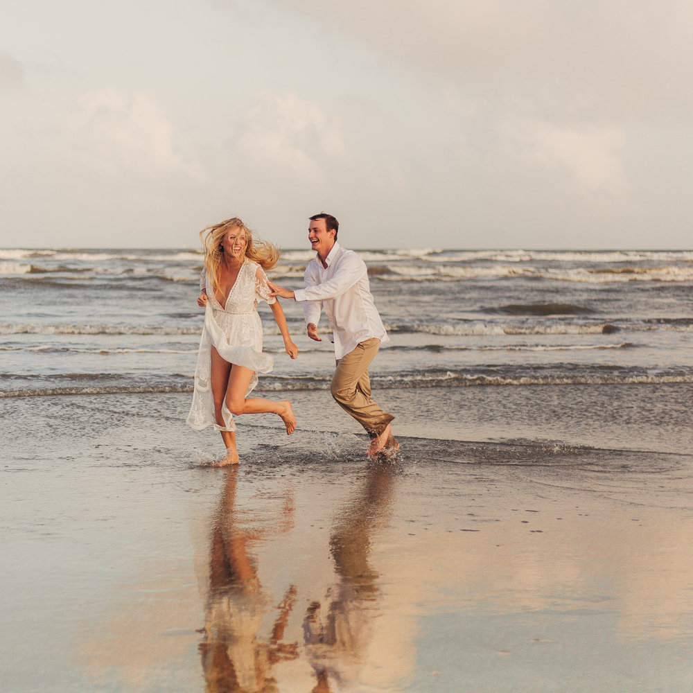 Jenna & Josh's Golden Beach Engagements - Galveston, TX