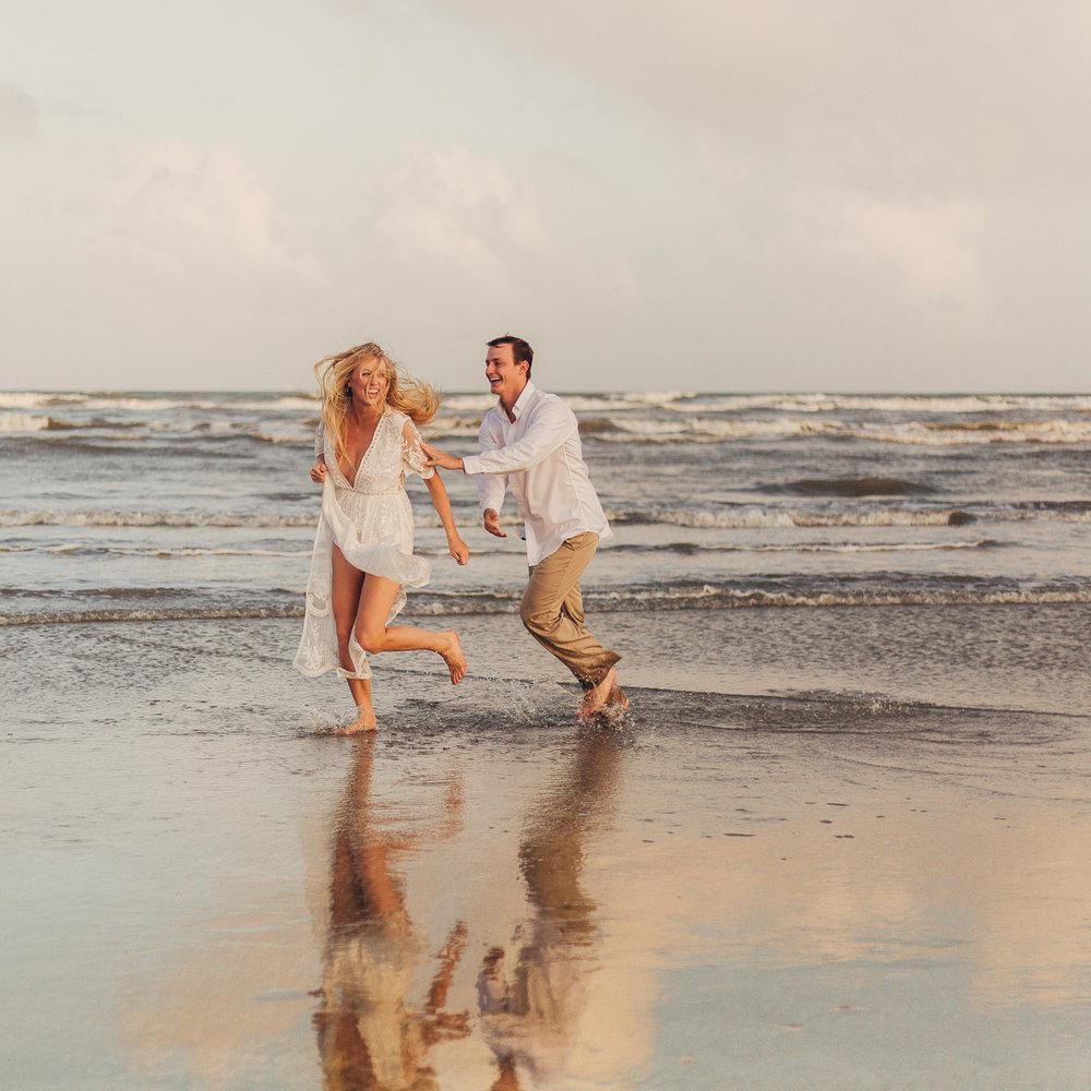 Jenna & Josh's Golden Beach Engagements - Galveston, TX