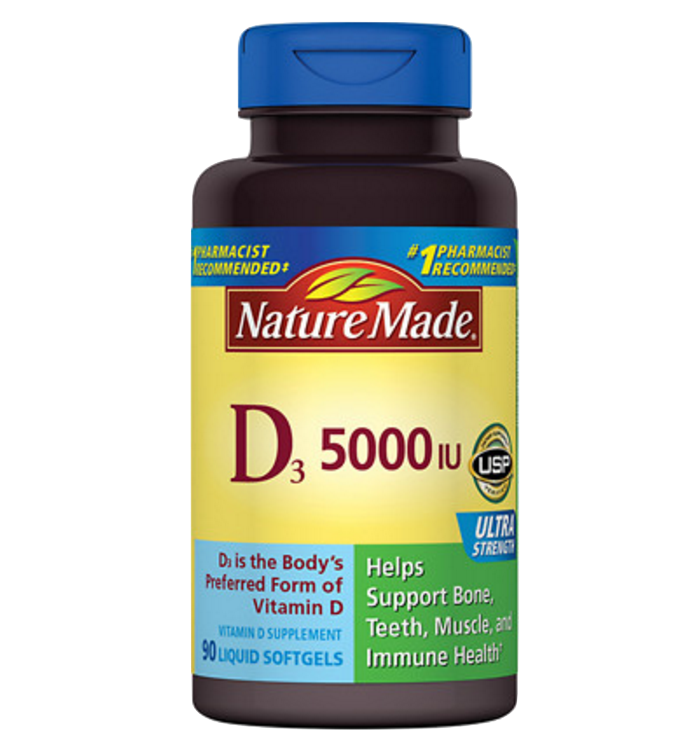 One over the counter brand offering 5,000 IU capsules of vitamin D3.