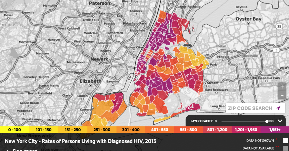 The predominantly white, gay male neighborhood of Chelsea has the highest rate of persons living with diagnosed HIV in NYC. Harlem has the second highest prevalence. Graphic from AIDSVu.