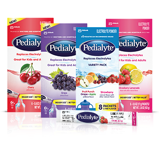 Pedialyte is an oral rehydration therapy designed for children with diarrhea. Pedialyte contains the ideal ratio of salt and sugar to optimize rehydration.